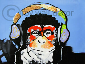 "Monkey Framed Canvas art  Chimp Ape Dj blue  Print Street painting 30"" x 24"""