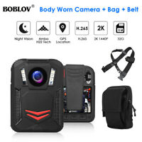 Boblov 1440P 2K 32G 64G Body Mounted Camera with GPS Location +Case +Chest Belt