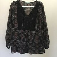 Maurices Womens Black Boho Paisley Floral Sheer Long Sleeve Top Size Small