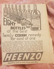 Heenzo Cough Remedy 1937 Advertisement