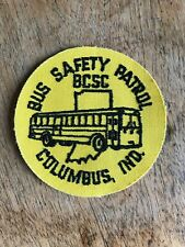 "Vtg Bus Safety Patrol Sew On Patch 3"" Embroidered Badge Columbus Indiana BCSC IN"
