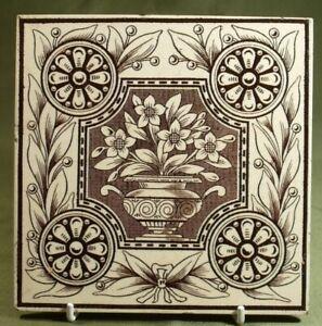 ANTIQUE ARTS CRAFTS PUGINIST TILE POTTERY BROWN & WHITE TRANSFER