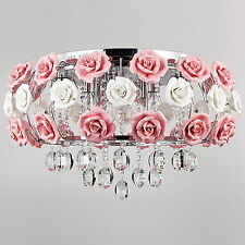 Ceramic Chandelier Ceiling Light Pink Rose Flower Crystal Pendant Lamp Fixtures