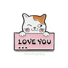 "Cat Enamel Pin Brooch (Cat hold ""Love you"" message) Cute Kawaii Kitty Pin Badge"