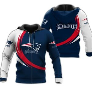 New England Patriots Hoodie Jogging Sweatshirt Fans Casual Hooded Zip Up Jacket