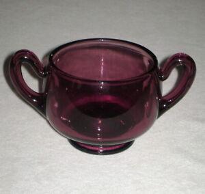 Vintage Purple Amethyst Glass Sugar Bowl