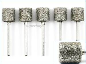 5pcs 50 Grit Coarse 12mm Cylinder Head Diamond Burr Dremel Rotary Bit Tool Set