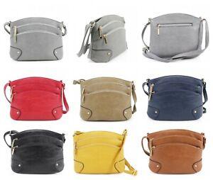 Ladies Zip Cross Body Messenger Bag Women Shoulder Handbag UK New (219)
