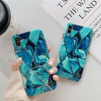Geometric Marble Case for iPhone X 10 XS MAX XR 6s 6 8 7 Plus Soft Green Covers