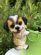 Mini FAIRY GARDEN ~ Black & White Puppy Dog Flower Pot Hugger