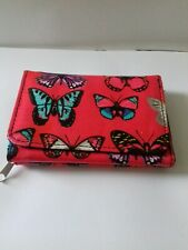 Red Butterfly Patterned Card Holder Wallet Purse