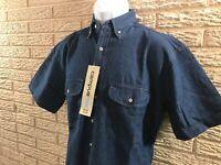 Campus Mens MEDIUM Blue Jean Shirt Cotton Denim VTG Chambray Preppy Western 90s