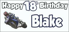 MotoGP Motorbike 18th Birthday Banner X2 Party Decorations Teenager Son ANY NAME