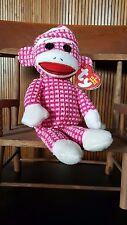 TY Beanie Babies Socks the Sock Monkey Pink Birthday April 16, 2013 - MWMT 8.5IN