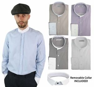 Mens Retro Peaky Blinders Removable Collar Stripe Grandad Nehru Collarless Shirt