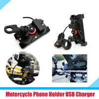 Motorcycle Handlebar Mirror Mount Phone Holder Bracket USB Charger 360° Rotation