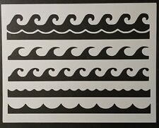 "Ocean Waves Wave Pattern Border Tiled Multiple 11"" x 8.5"" Stencil FREE SHIPPING"