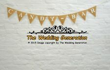 Candy Bar Hessian Bunting Wedding Decorations Party Celebrations Burlap Sweets