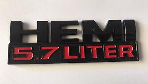 1 x Hemi 5.7L LITER Mopar Dodge Self-Adhesive Plastic Badge Decal #Black