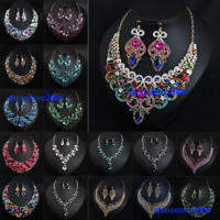 Bridal Wedding Jewelry Set Rhinestone Necklace Crystal Earring Bib Choker Collar