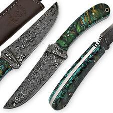 White Deer Large Executive Damascus Steel Knife Full Tang Metallic Resin Handle