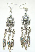 AZTEC Mayan God Earrings Silver Feathers Blue Inlay Silver Plated Ear Wires NEW!