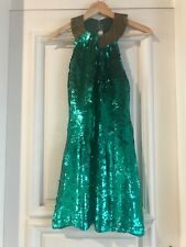 VINTAGE EMERALD GREEN SEQUINS MINI DRESS WITH GOLD BEADS NECK DETAIL, SIZE UK 10