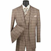 VINCI Men's Khaki Windowpane 3 Piece 2 Button Classic Fit Suit NEW
