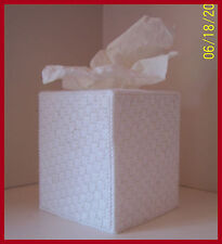 WHITE NURSERY HANDMADE PLASTIC CANVAS TISSUE BOX COVER TOPPER