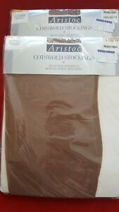VTG Aristoc COTSWOLD 60 Den Stockings Reciprocated Heel Sz: L Nearly Nude x 2