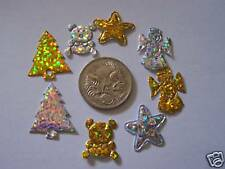 Christmas gold and silver glitter fabric shapes ~ NEW