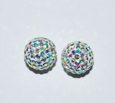 2 8mm Swarovski Pave Ball Beads Crystal Clear AB - AS51