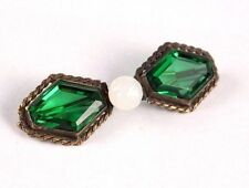 Vintage Green Crystal Glass Brass Victorian Bow Brooch Pin