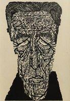 Sigurd KUSCHNERUS (1933) schicker Holzschnitt FALTIGER KOPF, PORTRAIT, KARIKATUR