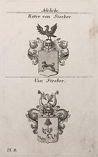Gravure sur cuivre Armoiries Famille Chevalier de Streber À 1825 Héraldique Adel
