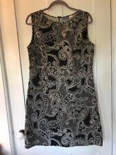 Provence D'Amour Cotton Shift Dress, Black & Cream Paisley, Lined, Size 10, ECU
