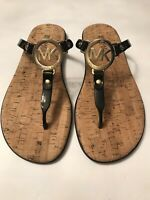MICHAEL KORS Size 6  Women's Black MK Logo Jelly Flip Flop Cork Sandals