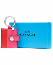 COACH Boxed Snap Picture Frame Key Ring Color Block Leather Red Pink Dahlia NWT