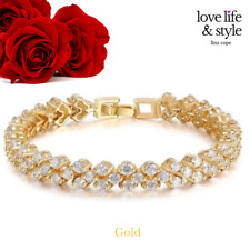 Crystals from Swarovski quality gift 18k Gold Plated Tennis Bracelet with