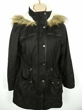 WOMENS PRIMARK ATMOSPHERE BLACK LIGHTLY PADDED HOODED PARKA JACKET COAT SIZE 8