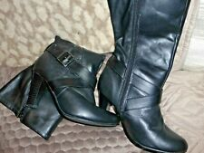 Ladies Long Black Leather Boots - Size 5 EE - by Finish the Look