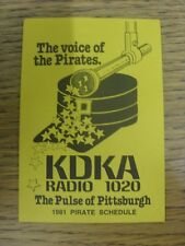1981 Fixture Card: Baseball - Pittsburgh Pirates (single card). Any faults with