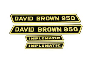 "David Brown 950 ""Implematic"" Black & Yellow Bonnet Set Decals (41056)"