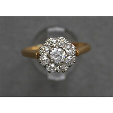 1/2 Carat Diamond Cluster Engagement Ring In Real 14K Solid Yellow Gold