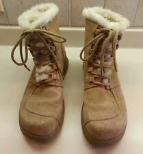 Report Sierra Tan Suede Leather Faux Fur Ankle Boots Sz 9
