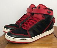 ADIDAS ORIGINALS ADI-RISE BLACK SCARLET HI TOP BASKETBALL BOOTS TRAINERS UK 10.5