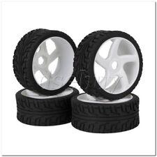 4 x RC 1:8 Off Road Car White 5 Spoke Plastic Wheel Rim + High Grip Rubber Tyre
