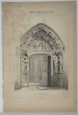 Lithographie Porte du cloître de Burgos
