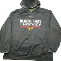 Reebok Men's XL Gray Chicago Blackhawks Center Ice Hoodie Sweatshirt NHL