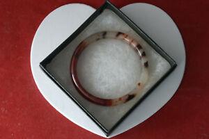 BEAUTIFUL CHERRY BLOSSOM JADE BRACELET 7.5 WIDE- INSIDE 5.5 CM. WIDE IN GIFT BOX